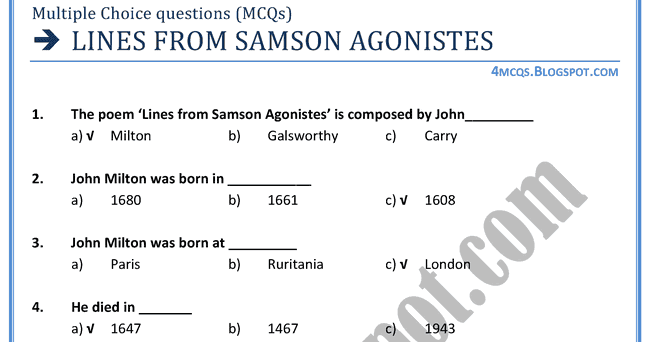 essay on samson agonistes A critical examination of samson agonistes it's not all of them, but here's the most accessible collection of johnson's most popular and influential essays:.