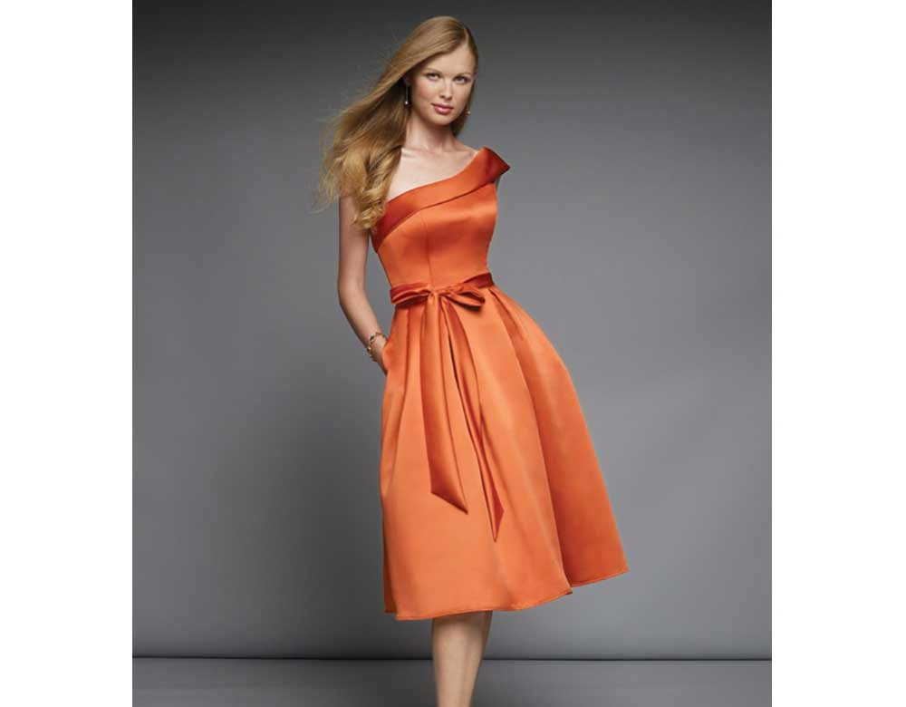 one shoulder orange cocktail dresses