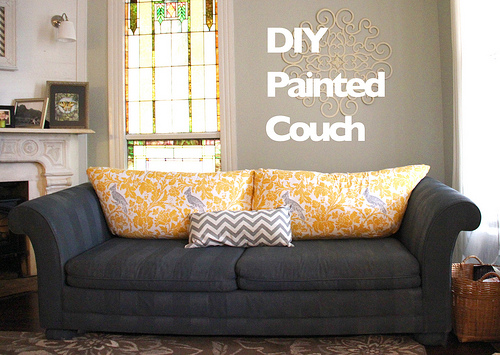 How To Paint Furniture Upholstery :: A DIY Sofa Makeover