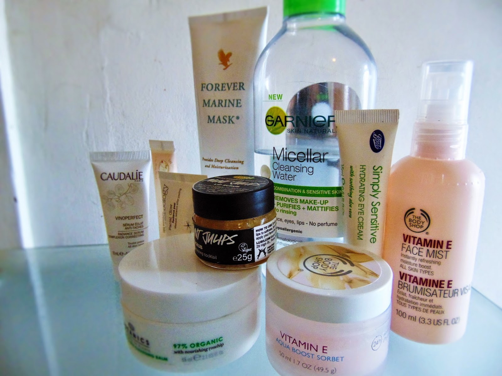 current skincare routine caudalie body shop elemental herbalogy forever living garnier lush lanolips