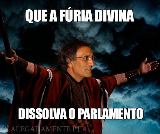 Caricatura de João Calvão da Silva – Que a fúria Divina dissolva o Parlamento