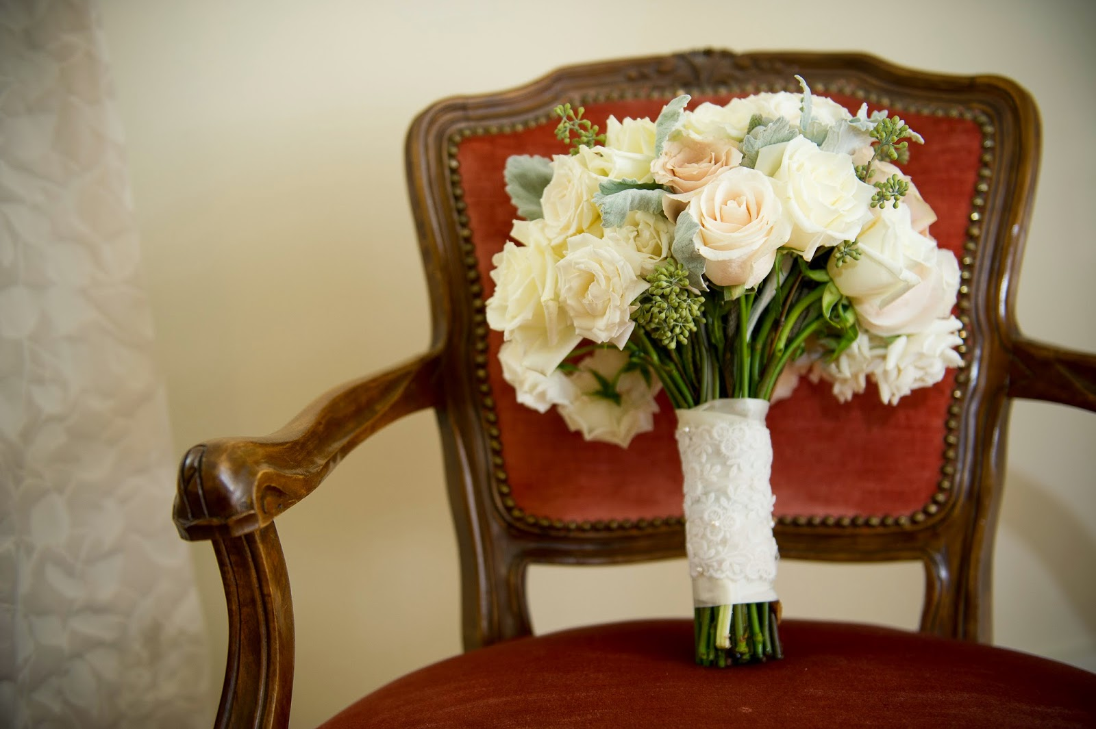 les fleurs : fall wedding : fruitlands musuem : white, champagne and gray : roses, dahlia and dusty miller