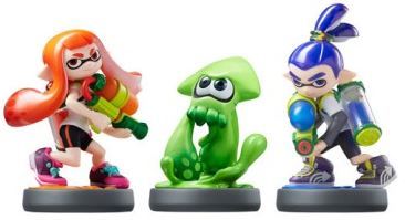 The three Splatoon Amiibo - Inkling Girl, Squid, and Boy.