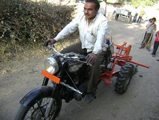 "A ploughing motorcycle named as ""Santi""."