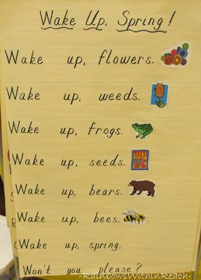 photo of: Anchor chart for spring, spring poem for kindergarten, spring time poem for children
