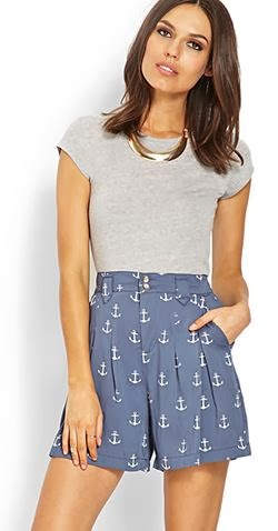 Forever 21 pleated anchor shorts