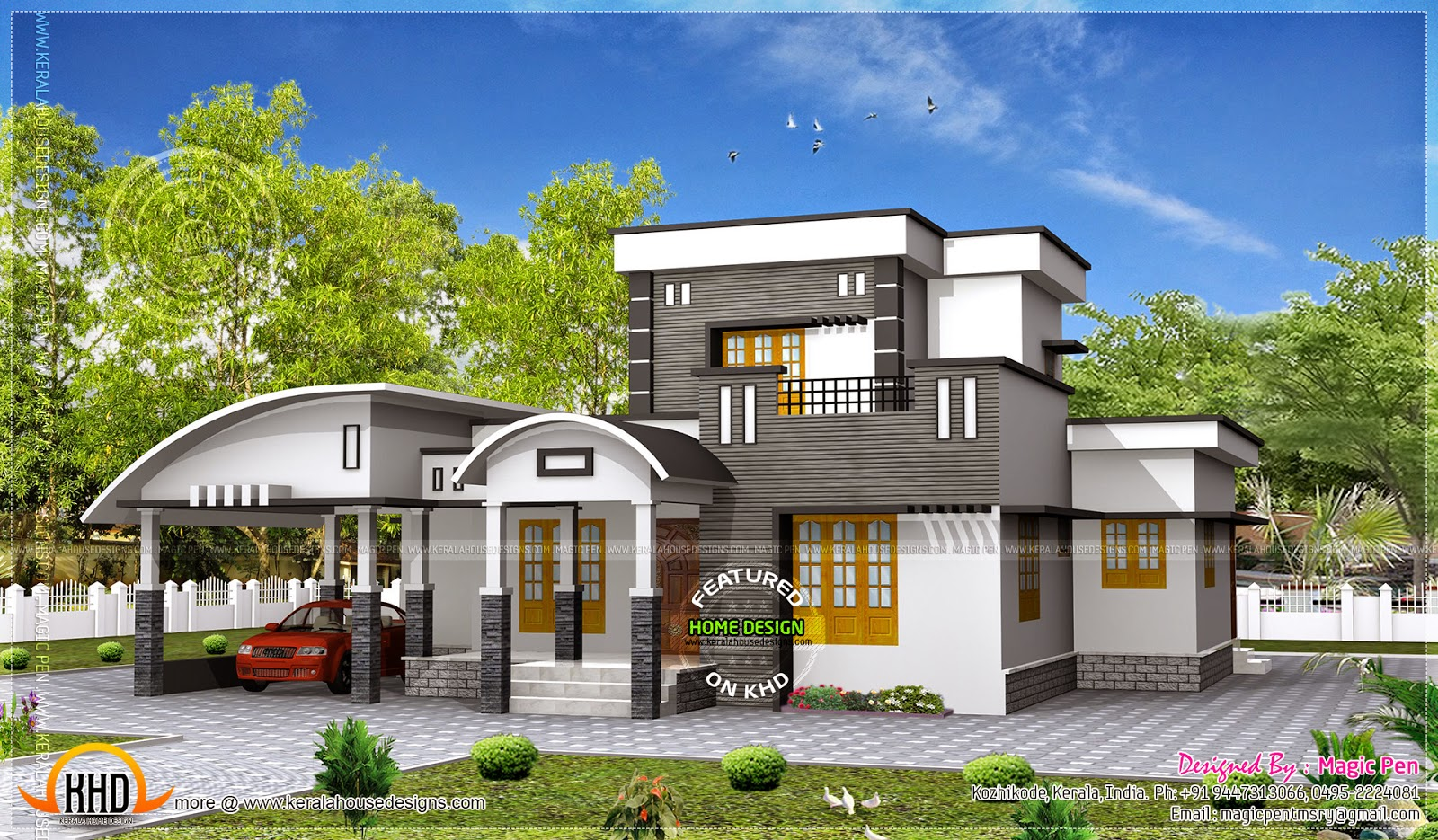 Modern double storied home kerala home design and floor for Kerala home designs photos in double floor