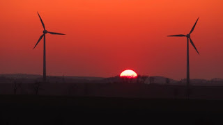 Wind Turbines and Sunset in Germany