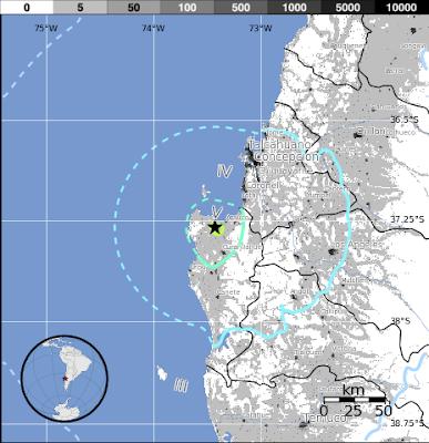 Epicentro sismo 5.5 grados en Chile, el 26 de Diciembre de 2012
