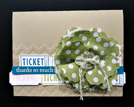 Thanks so much card with trendy fabric flower and chevron pattern
