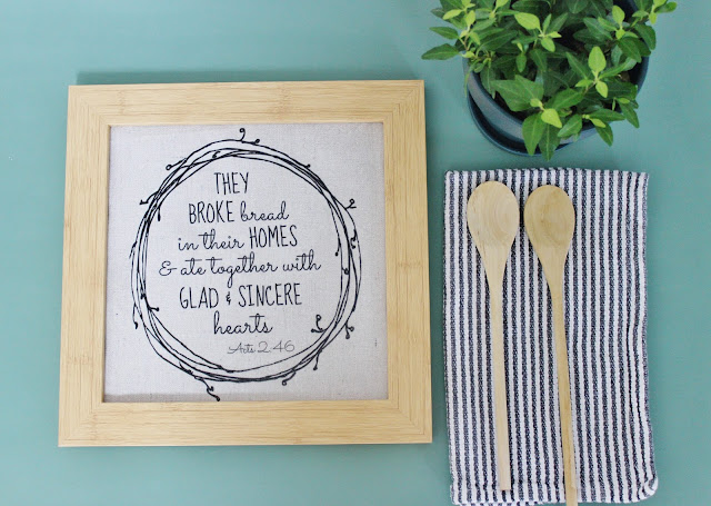 """They Broke Bread"" DIY wall art made from drop cloth.Easy way to get that linen look for less!"
