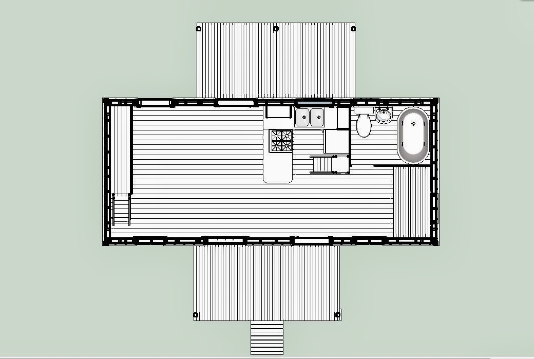 16 X 22 Barn Plans furthermore Tiny House On Wheels Floor Plans 12 X 24 moreover Casas 3d Bella Fachada De Vivienda Con in addition Portable Building House Plans further 12 X24 Cabin Layout. on 12 x 24 lofted barn cabin in sketchup