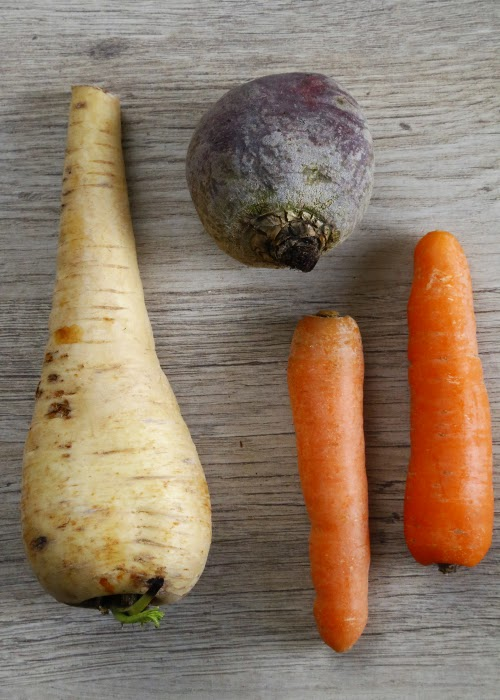 Parsnip, beetroot and carrots on a wooden board.