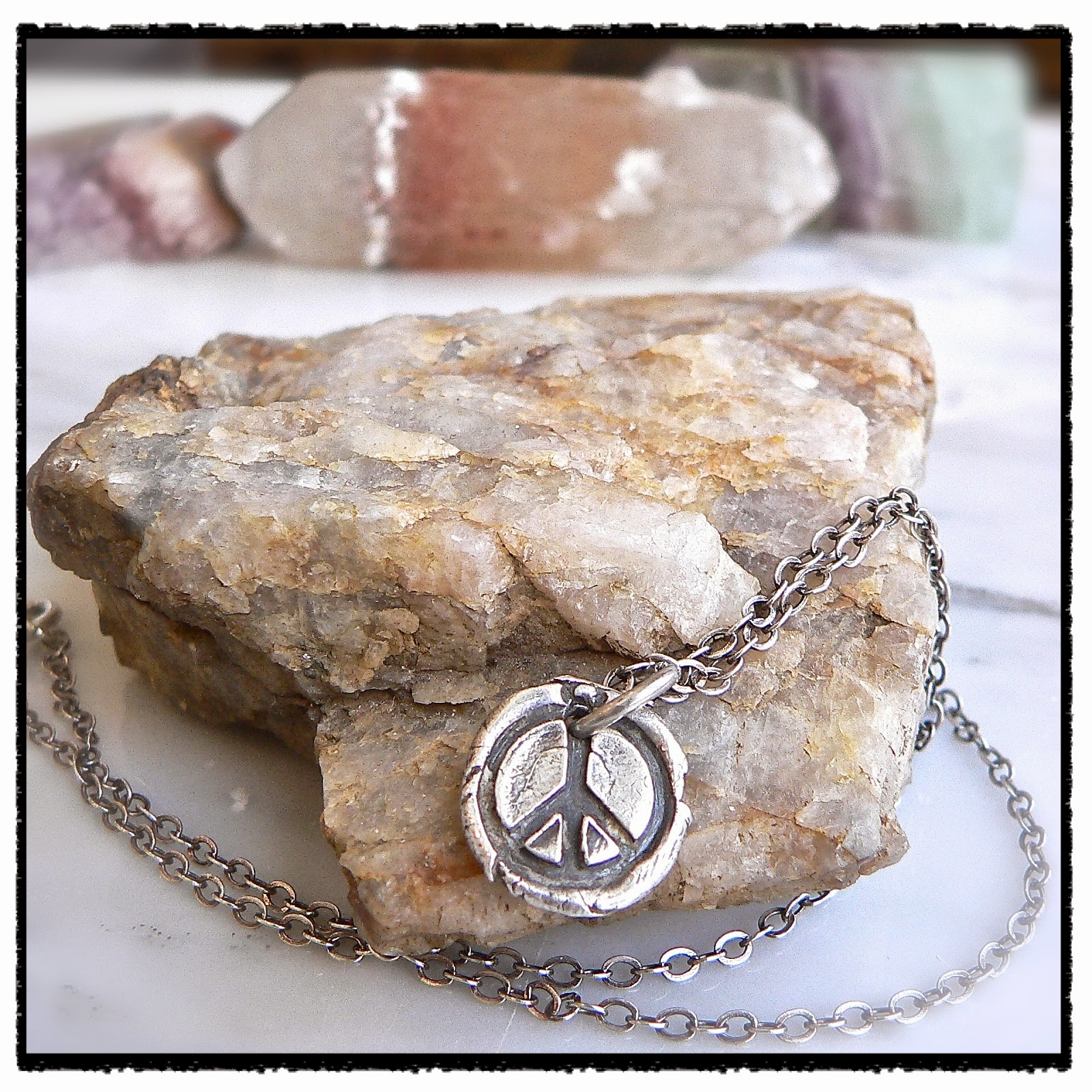 "<img src=""wax seal  Peace Sign necklace - Petite Peace Sign wax seal necklace  from Your Daily Jewels.jpeg"" alt= ""Antique wax seal Proverb pendants"">"