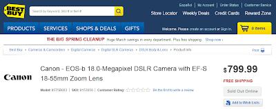 La Canon EOS-B in prevendita sul sito Best Buy