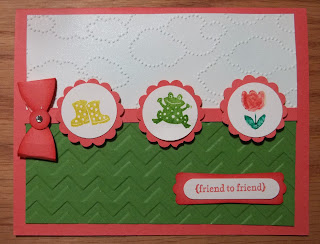 Card made with Stampin'UP! cloud embossing folder and Spring Sampler Stamp Set
