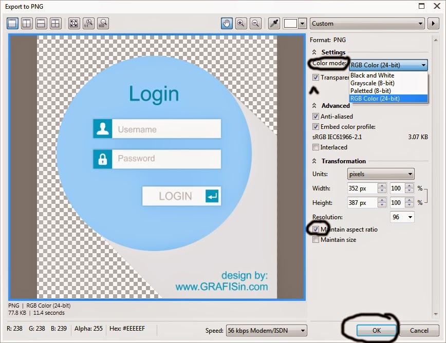 Pengaturan Export to Image pada CorelDraw X7
