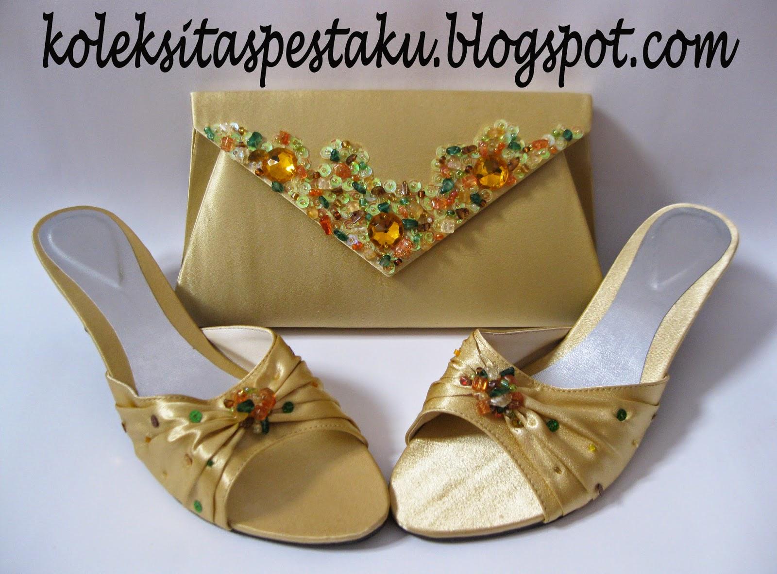 Sepaket Sandal dan Tas Amplop Gold Cantik dan Mewah Unik