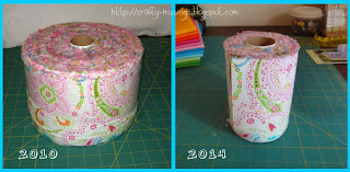 Project Linus challenge roll o' fabric, then and now