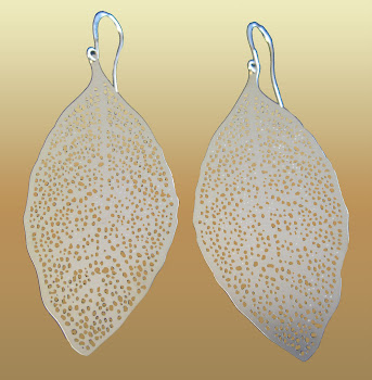 Elongated Dangle Gold Plated Leaf Earings A Must For This Season L and Chic