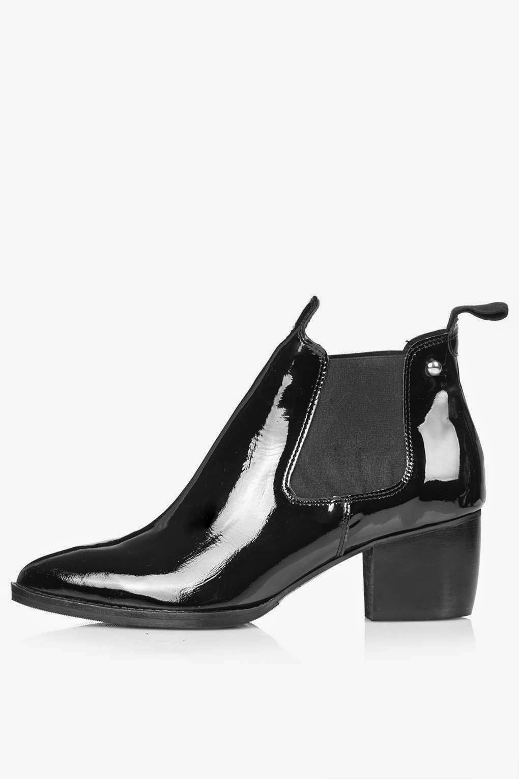 topshop patent ankle boots