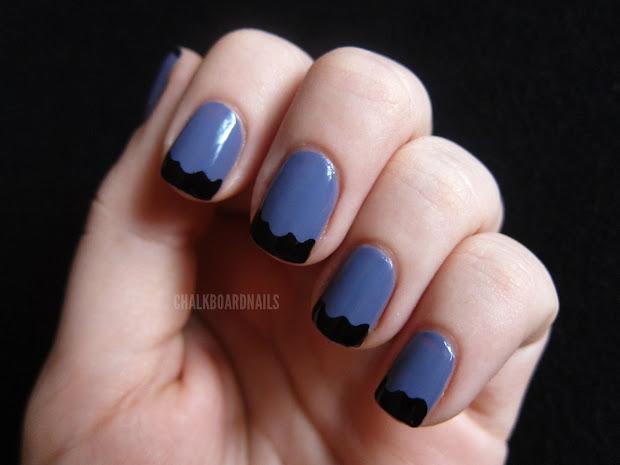 wavy french chalkboard nails