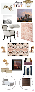 Arizona || Master Guest Bedroom Style Board ||  on California peach || Antique, arizona, Art, Bedroom, brass, California Peach, contemporary, Cotton Tail, Cowboy, Fine Art, Grand Canyon, Horse, Horses, Old West, Painting, Rabbit, southwest, southwestern, western, interior design,  Home decor