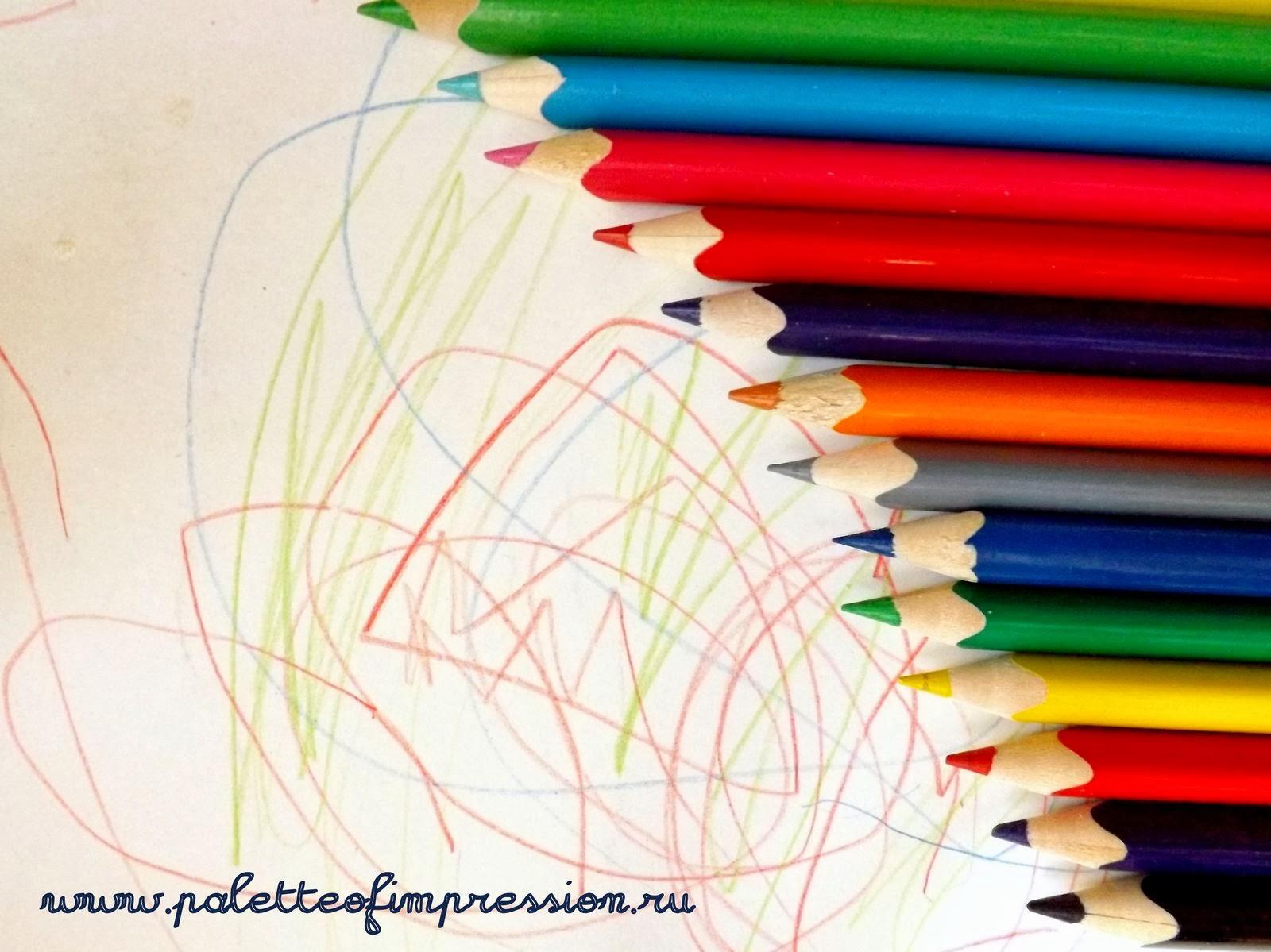 Детские рисунки карандашами, акварелью, на манной крупе. Детские каракули, черточки, точки. Блог Вся палитра впечатлений.