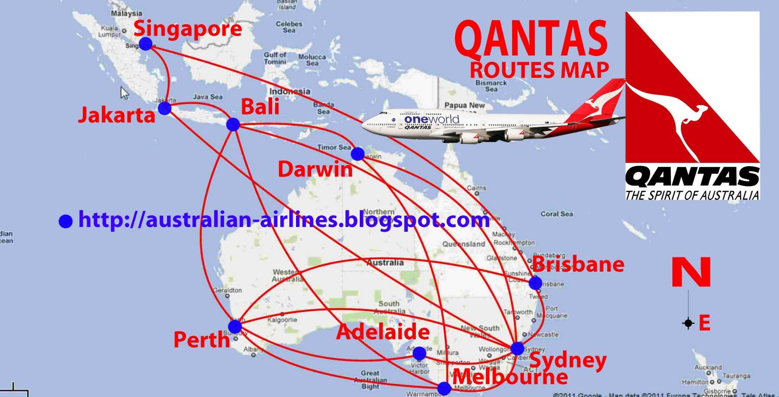 Routes map qantas flight routes from australia to indonesia qantas flight routes from australia to indonesia qantas routes map sciox Images