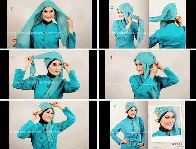 Foto gambar tutorial hijab segi empat simpel