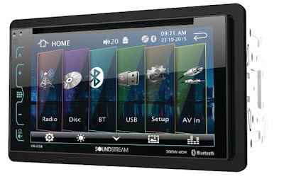 The Soundstream AptiX series VR-65B head unit showing Bluetooth capability, USB support, as well as radio and disc playback functions.