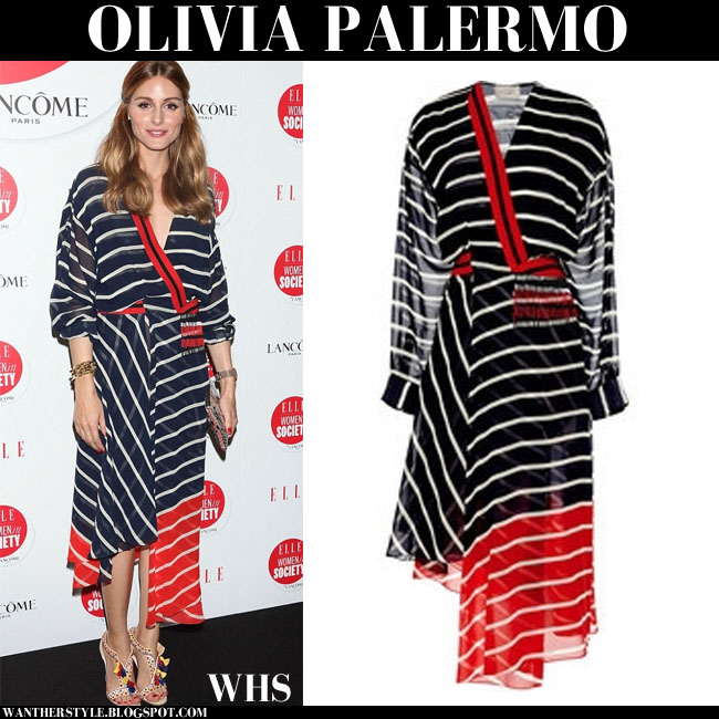 Olivia Palermo in striped navy, red and white wrap dress from Preen tokyo june 13 what she wore
