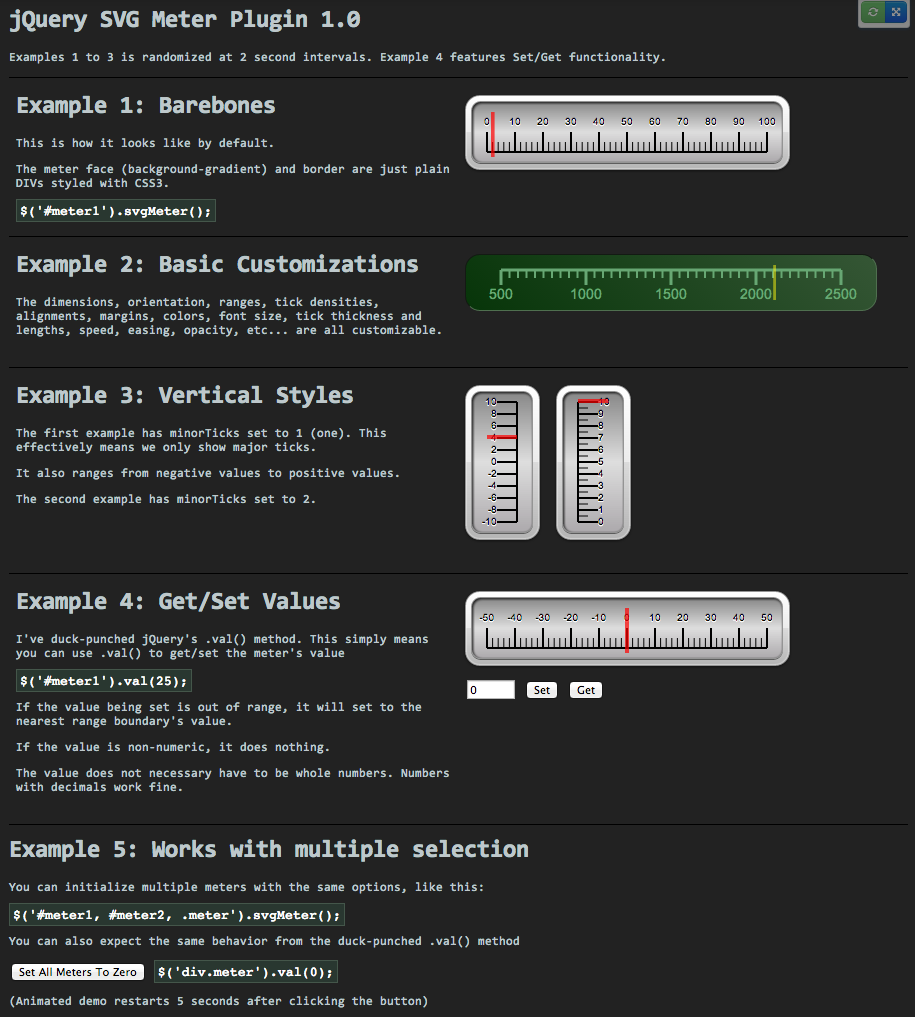 jquery dashboard widget demo