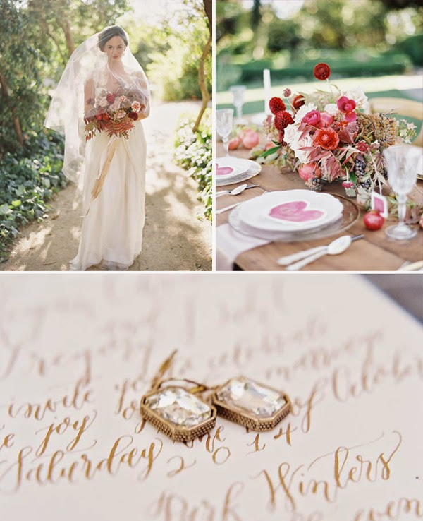 Sarah Seven Graceful featured in this Merlot and Gold Wedding Inspiration Shoot on SMP!