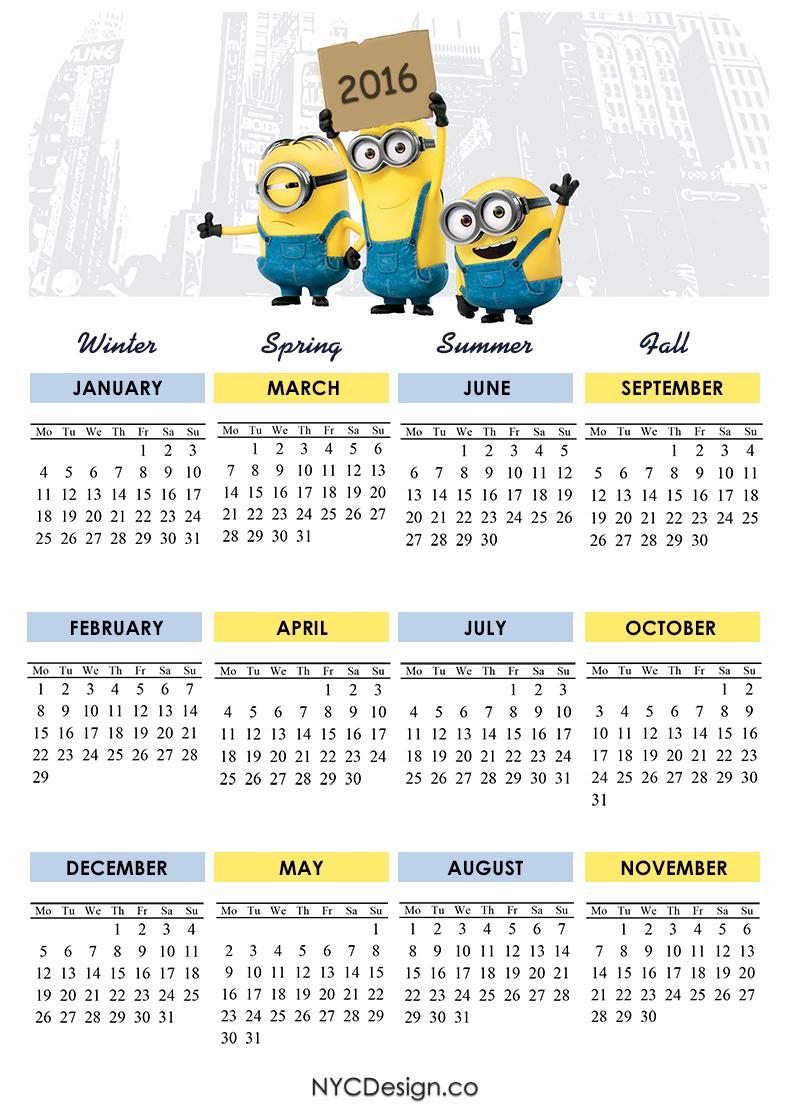 New York Web Design Studio, New York, NY: Minions Calendar 2016 ...