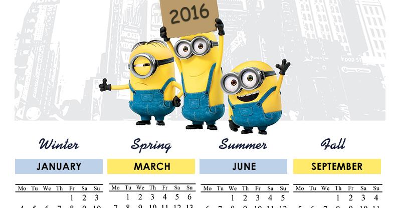 New York, NY: Minions Calendar 2016 - Printable - 4 Seasons - Free ...