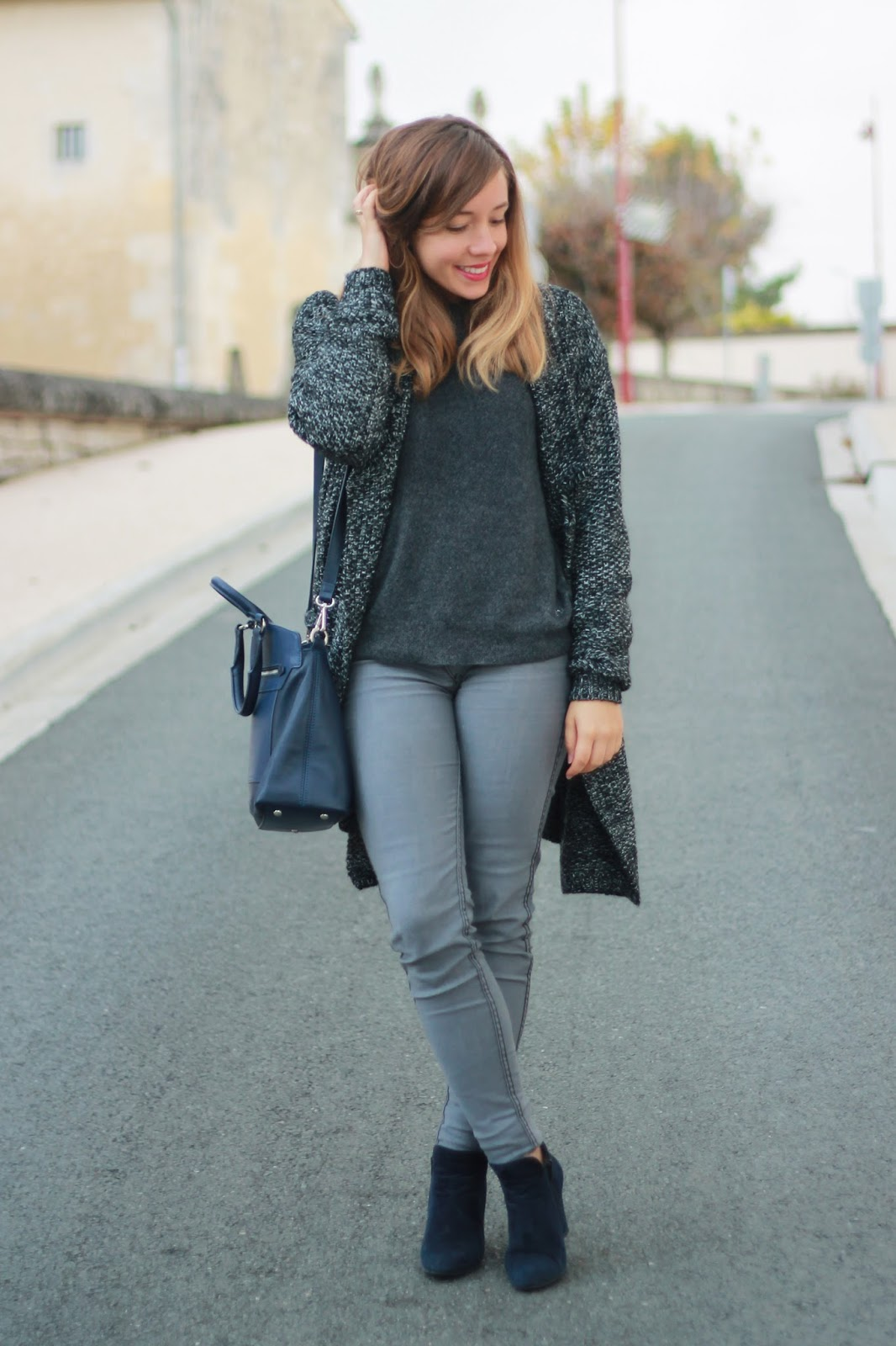 Cardigan gris grosses mailles