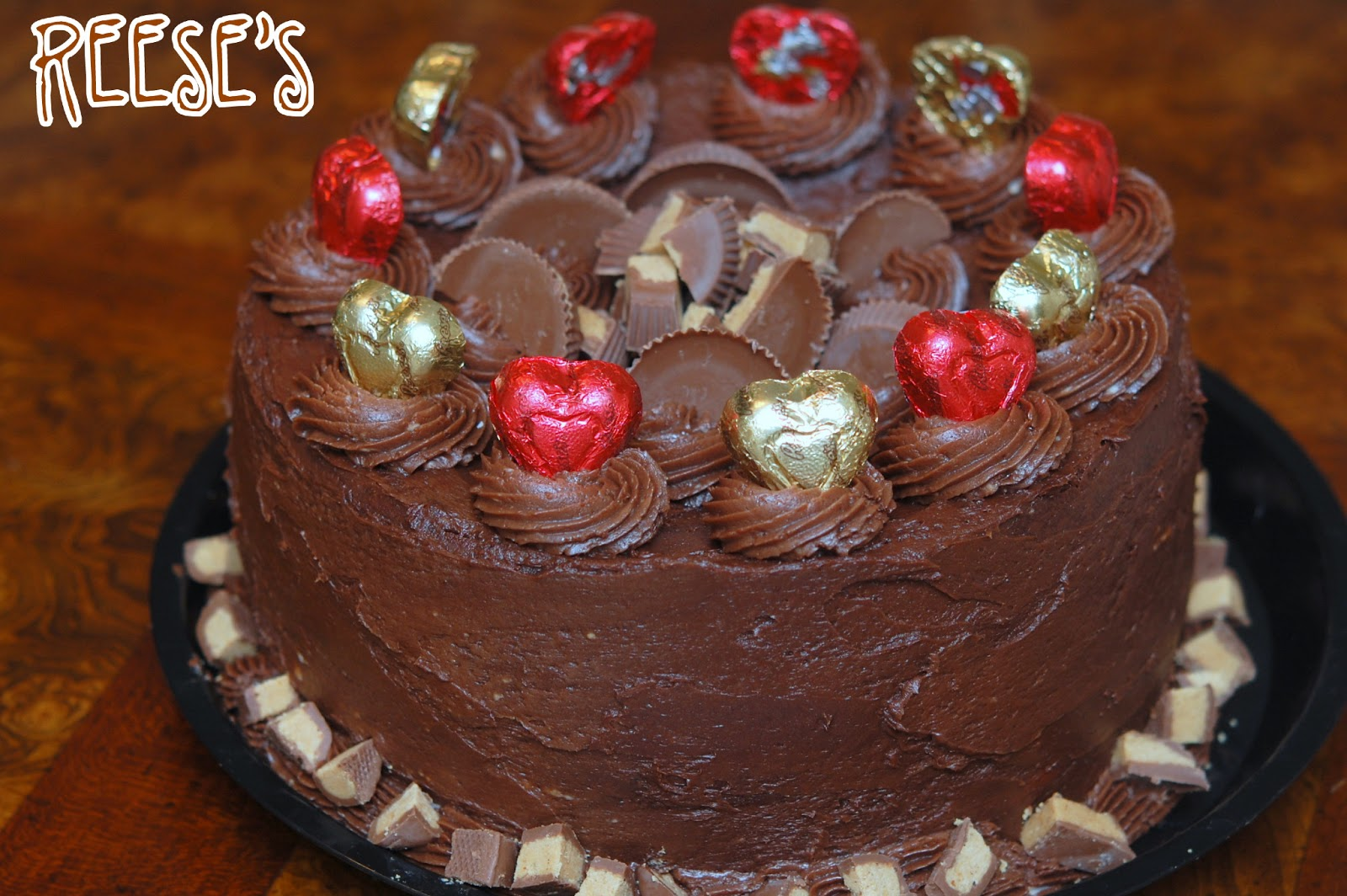 Brownie And Peanut Butter Cup Buckeye 4 Layer Cake Hugs And