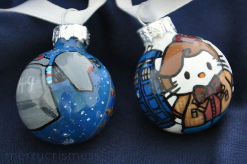 Handpainted Who Ornaments: K-9 & Hello Kitty Doctor