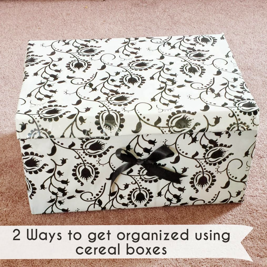 2 ways to get organized using cereal boxes