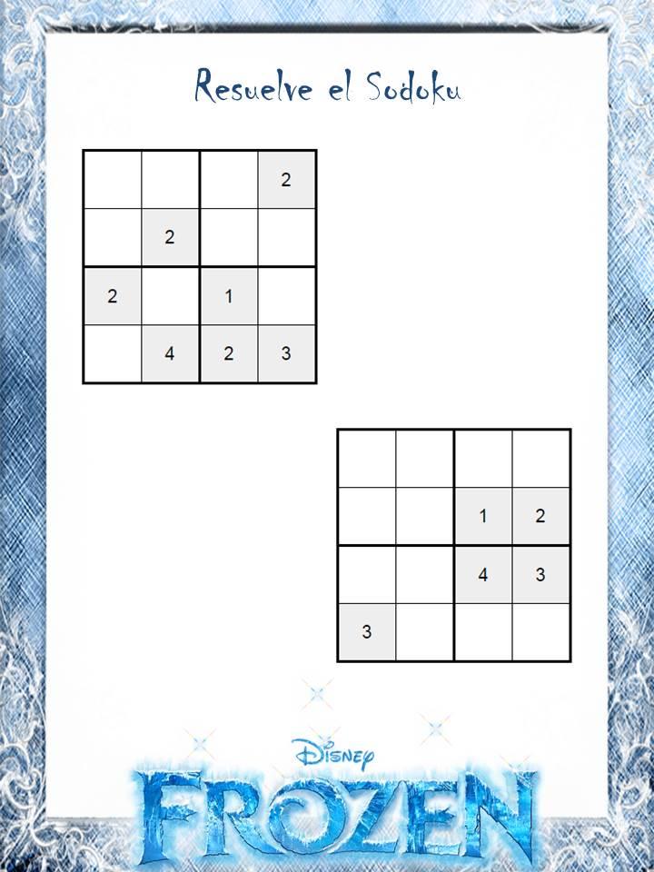 Sudokus de Frozen para los más pequeños (4x4 y colores) (juegos ...