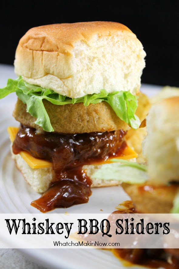 Whiskey BBQ Sliders - Quick and easy meal! Burgers, BBQ sauce, Whiskey served on slider bun with an onion ring