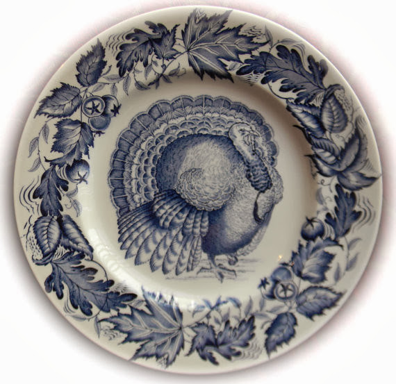 Clarice Cliff Royal Staffordshire Blue Transferware Autumn Foliage Turkey Plate