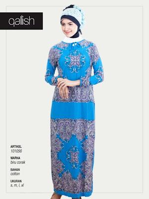Produk Qallish Kaos Cardigan Koleksi Gamis Muslimah Biru Corak