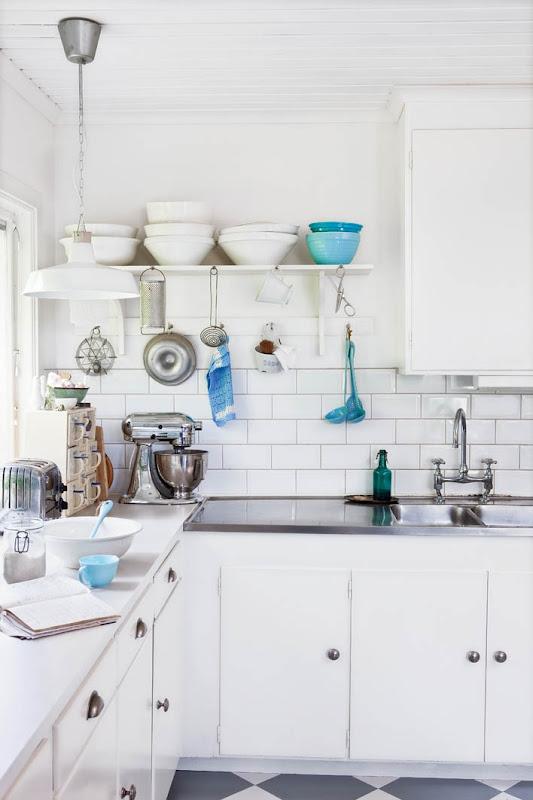 Cocina Blanca Y Azul | Detalles En Azul Para Una Cocina Blanca Blue Details In A White
