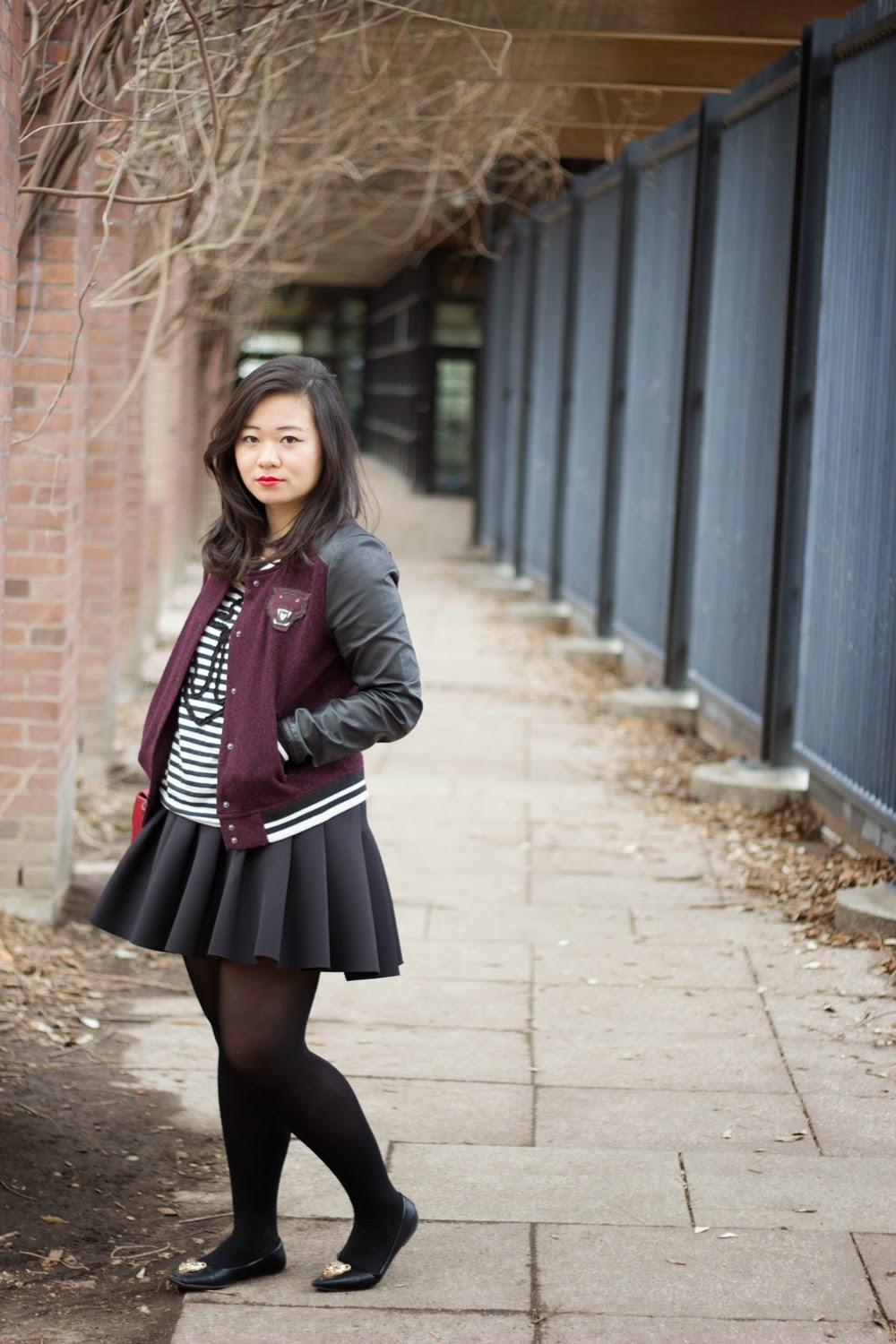 Burgundy-baseball-varsity-jacket, puffy-skater-skirt, Spring-Casual-Look, Street-Style