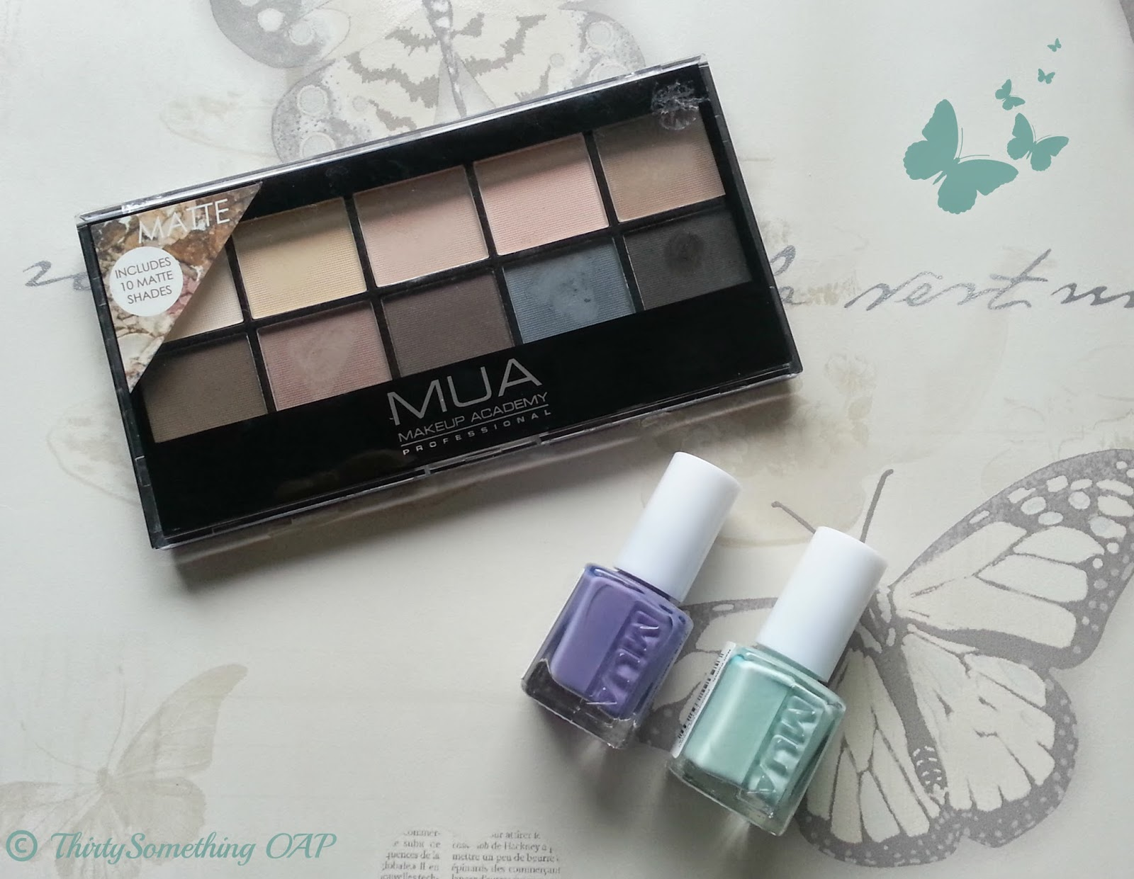 MUA palette and nail polishes