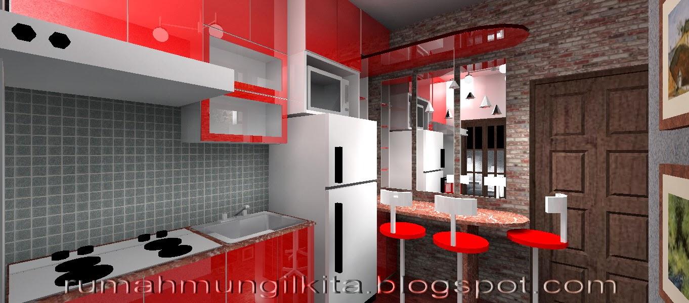 dapur dengan batu bata ekspos dan kitchen set merajh