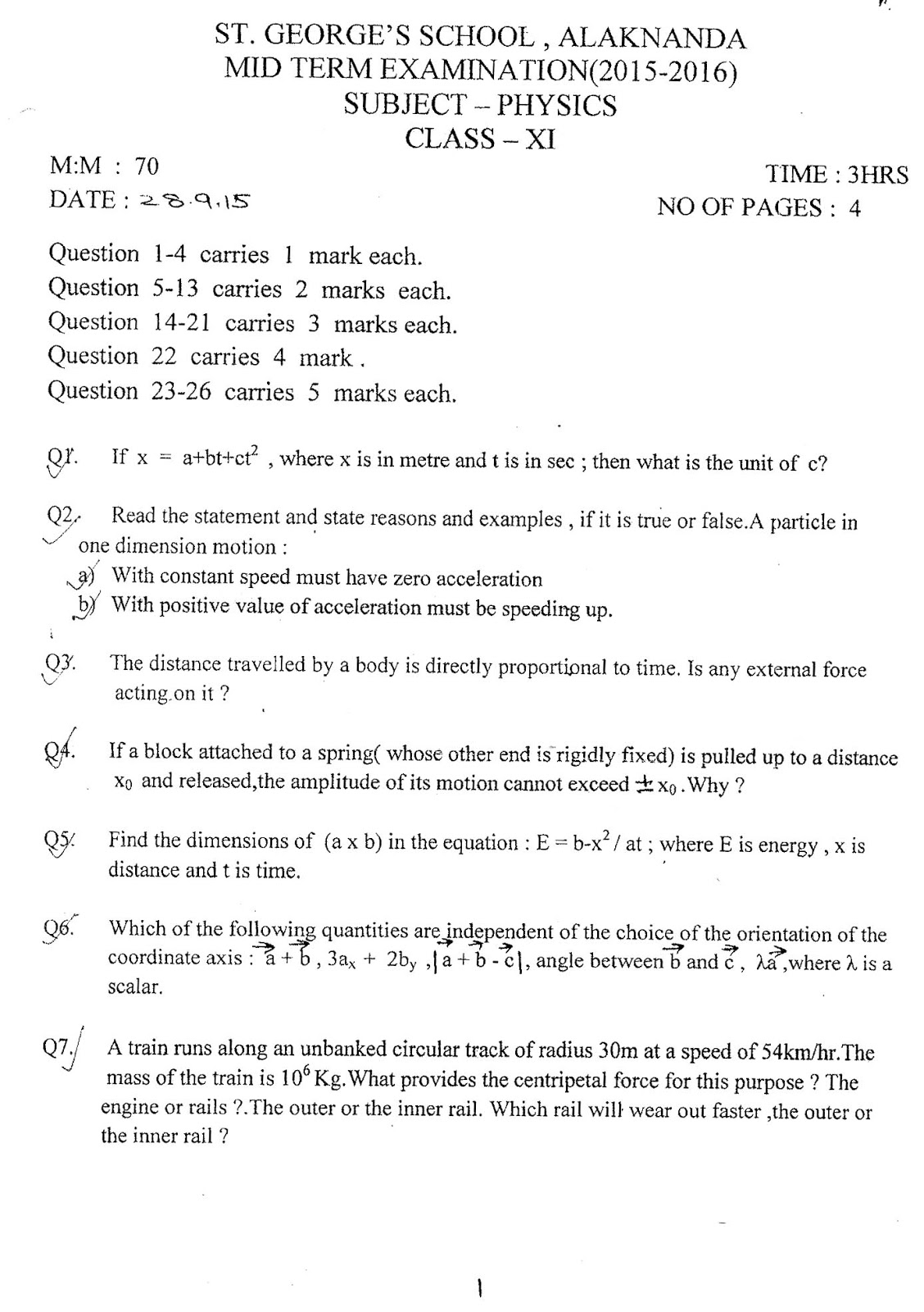 physics mid term questions Physics 214 midterm exam spring 2012 2 of 13 pages (26 problems) exam grading policy— the exam is worth a total of points, composed of two types of questions.