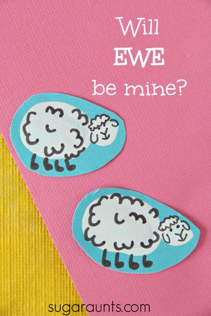 Will Ewe Be Mine? Valentine's Day Sheep finger print art. This is adorable for kid made cards!